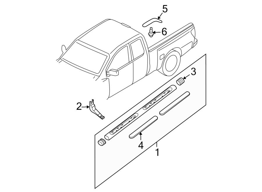 in addition Tail Gate moreover Bdcf F F C Fe A F D Fcb C moreover D Tailgate Hinges Frontier Installed in addition . on nissan frontier tailgate parts diagram