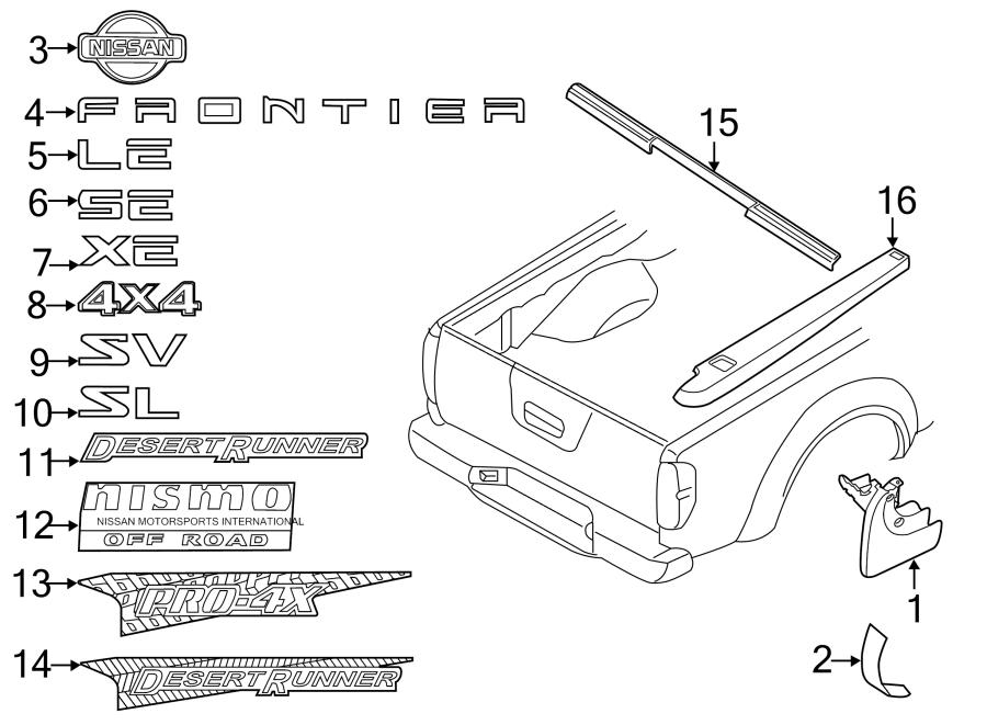 nissan frontier label  emblem  rear  nameplate  tailgate