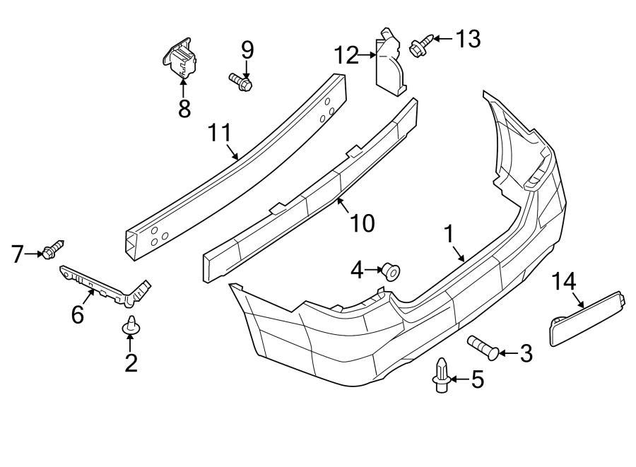 nissan sentra bumper cover bracket  rear right  components