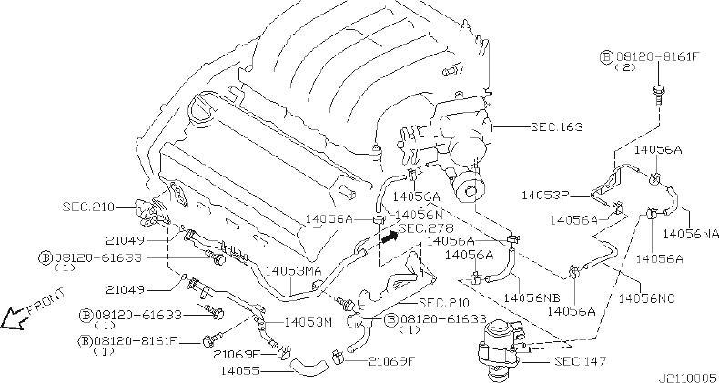 Nissan Maxima Engine Coolant Hose - 14055-31U00   HYMAN ...