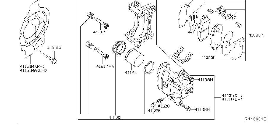 Nissan Maxima Disc Brake Abutment Clip Set  Disc Brake Pad