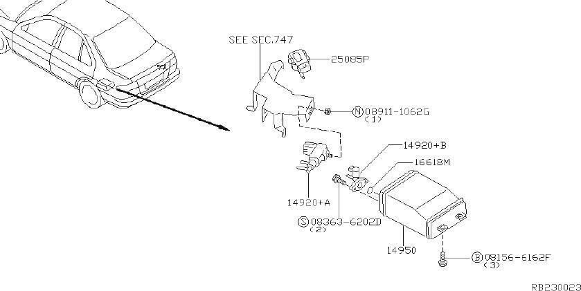 Nissan Sentra Gallery vacuum. Engine, room, rear - 22310 ...