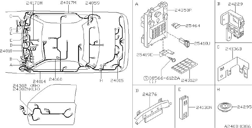 Nissan Sentra Harness Body. FITTING, ENGINE, ROOM - 24014 ...