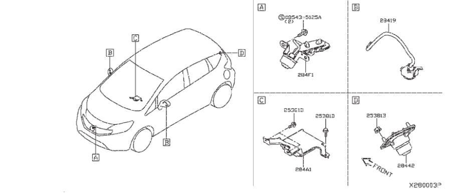 Nissan Versa Note Wire Earth Bonding  Audio  Unit  Antenna