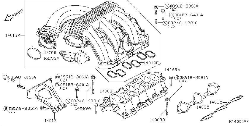 Nissan Pathfinder Exhaust Manifold. INTAKE, ENGINE, COVER ...