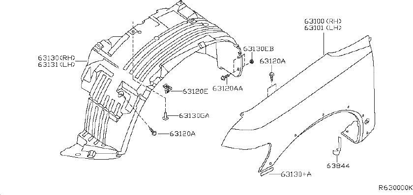 Nissan Altima Fender Liner Retainer  Front  Fitting