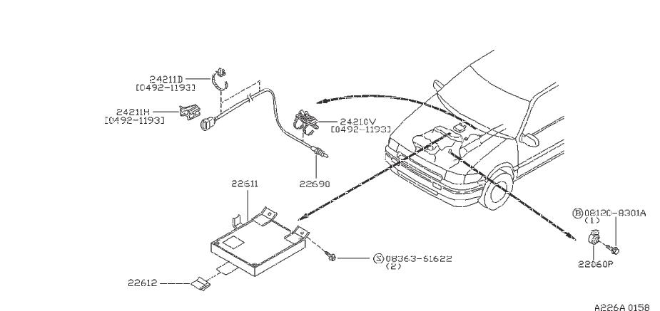 Nissan Maxima Clip Egi Harness  B  Clip Wiring Harness  C