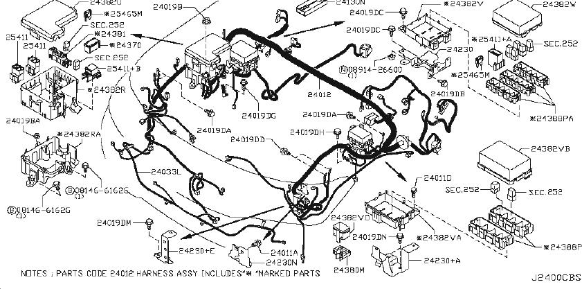 Nissan Armada Parking Aid System Wiring Harness  Body